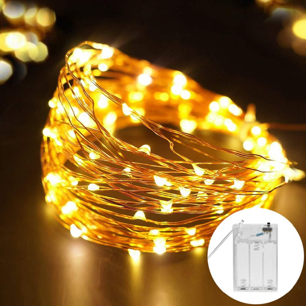 2 м 5 м Медный провод Гирлянды светодиодные огни Водонепроницаемый праздник Светодиодные ленты освещения для феи Рождество дерева Свадебная вечеринка украшение лампы