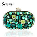 New Vintage Women's Emerald Jewelry Clutch Bags Handmade Beaded Green Gem Lady Evening Bag Wedding Party Banquet Purses 845tp