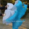 Новый окрашенная белый / бирюзовый Bellydance натурального шелка вентилятор вуаль длинные танцы чистого шелка вентиляторы с левый + правый рука