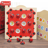 Ladybug Cartoon 3D Montessori Wooden Toys Baby Early Educational Toy for Children Interactive Toys Box Waldorf Toy T0194