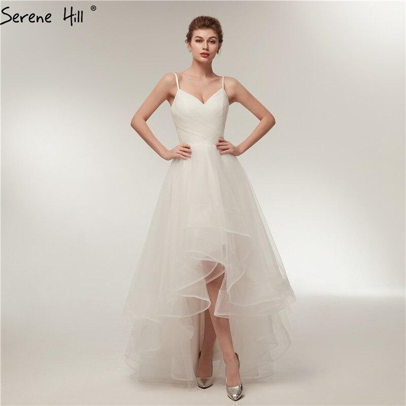 White Short Front Long Back Tulle Wedding Dresses 2018
