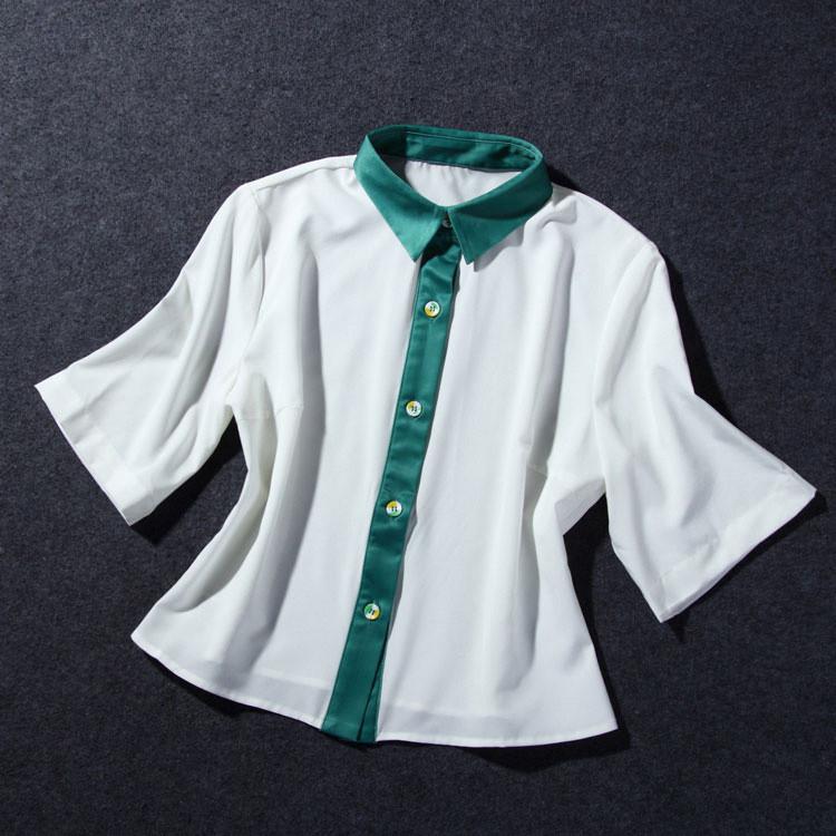Flower Print Green Skirt White Blouse Suits for Women (6)