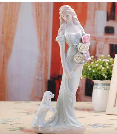 25 34CM Beauty Girl Women Ceramic Arts And Crafts Western Female Characters Furnishing Articles Home Decoration