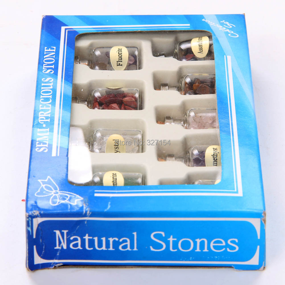 9pcs Mini Semiprecious Stones Natural Bottles Crystal Healing Tumbled Stones Reiki Wicca with Box GC000 in Figurines Miniatures from Home Garden