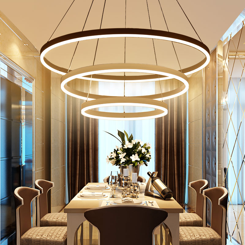 Image 2 - Black White Color Modern pendant lights for living room dining room 3/2/1 Circle Rings LED Lighting ceiling Lamp fixtures-in Pendant Lights from Lights & Lighting