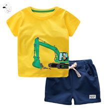 BINIDUCKLING 2018 New Style Cartoon Children Clothing Summer T-Shirt and Pants Boys Clothes 2Pcs Cotton Pullover Shorts Kids