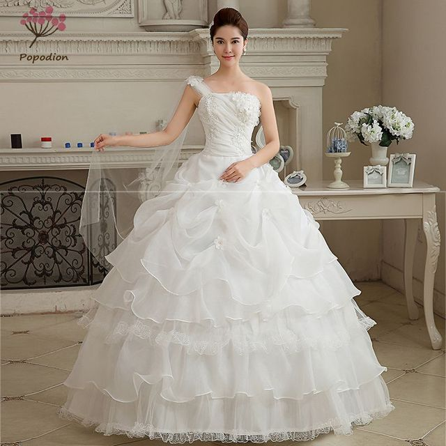 Sexy One Shoulder Pregnant Plus Size Wedding Dress Princess Bride