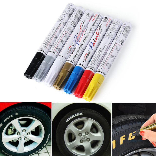 Rotuladores de pintura permanente de Metal CD para neumáticos de coche de pluma a prueba de agua de colores