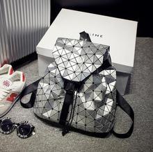 Maelove Новинка 2017 года модные женские туфли сумка рюкзак Геометрическая плеча студента школьная сумка Голограмма Рюкзак Световой Марка BAOBAO сумка