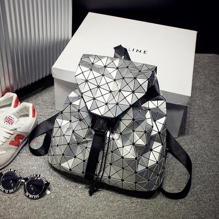 Maelove 2018 New Fashion Women Geometric Backpack Shoulder Students school bag Hologram backpack Luminous bag ...