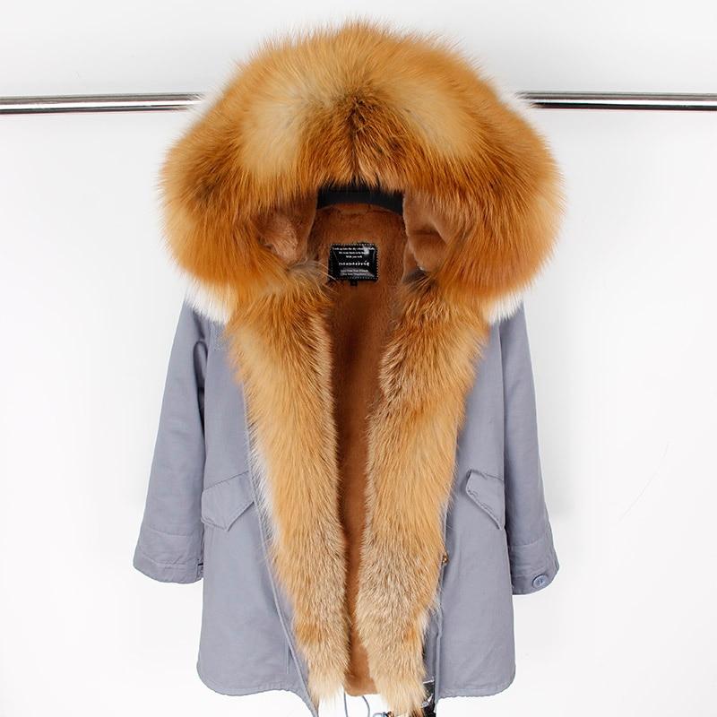 Новая мода для женщин роскошный большой натуральным лисьим меховой воротник манжеты пальто с капюшоном Длинные парки верхняя одежда зимн