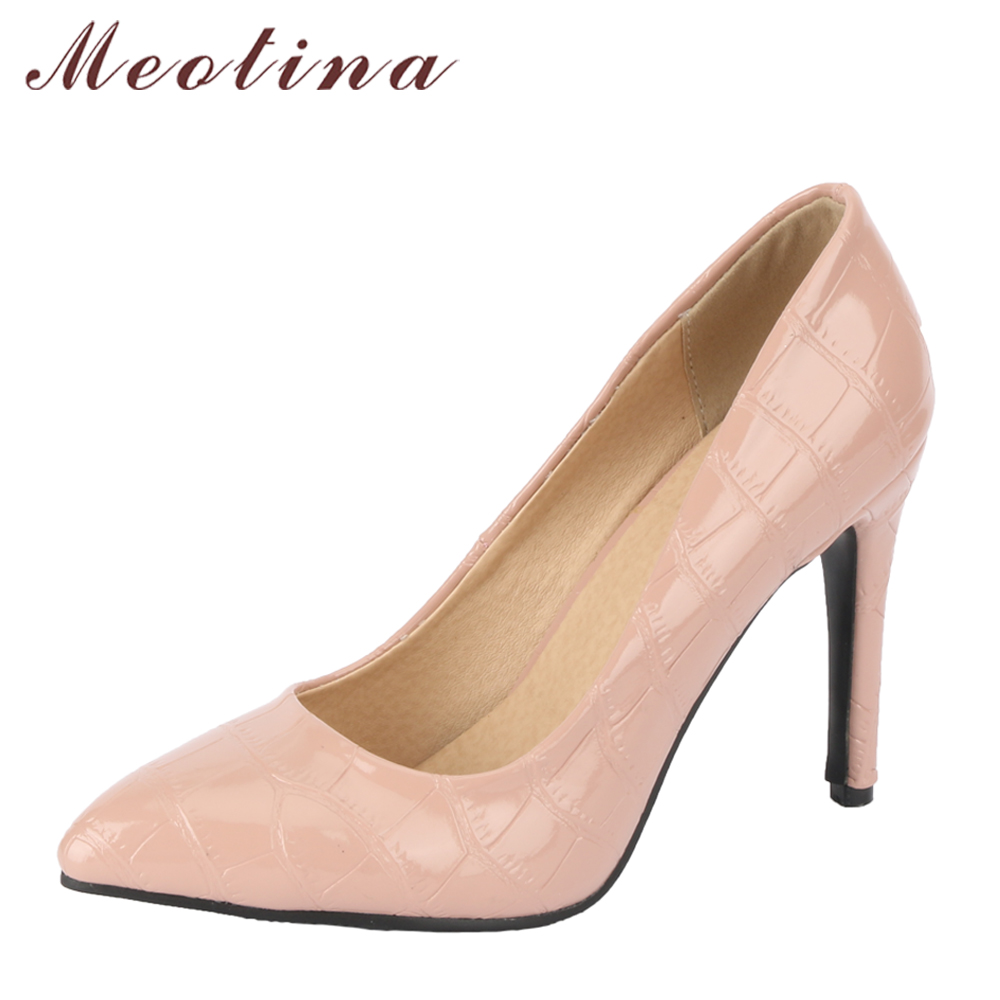 Meotina Women Pumps Extreme High Heels Pointed Toe Female Party Shoes Pink Thin Heel Wedding Shoes Fashion Plaid Big Size 34-43 стоимость