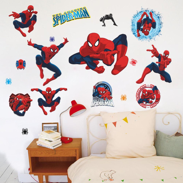 Movie Character 3d Cartoon Spiderman Wall Stickers For Kids Rooms Wall  Decals Home Decor Wallpaper Mural