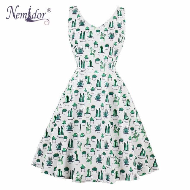 Nemidor Hot Sales Women 1950 Vintage Elegant V-neck Plus Size A-line Dress  Print Sleeveless Rockabilly Swing Party Dress 8114e3b3f539