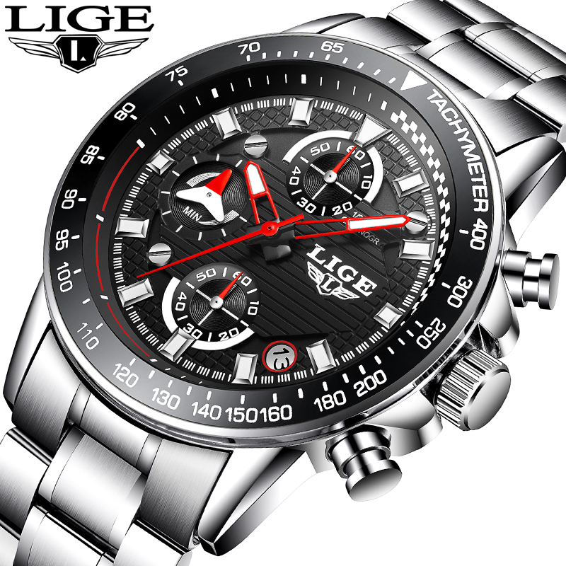LIGE Men's Luxury Brand Full steel Quartz Watches Men Military Waterproof Wrist watch Man Fashion casual Clock relogio masculino curren top brand luxury men sports watches men s quartz clock man military full steel wrist watch waterproof relogio masculino