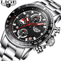 LIGE Men S Luxury Brand Full Steel Quartz Watches Men Military Waterproof Wrist Watch Man Fashion
