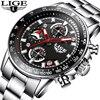 LIGE Men S Luxury Brand Full Steel Quartz Watches Men Military Waterproof Wrist Watch Man Fashion
