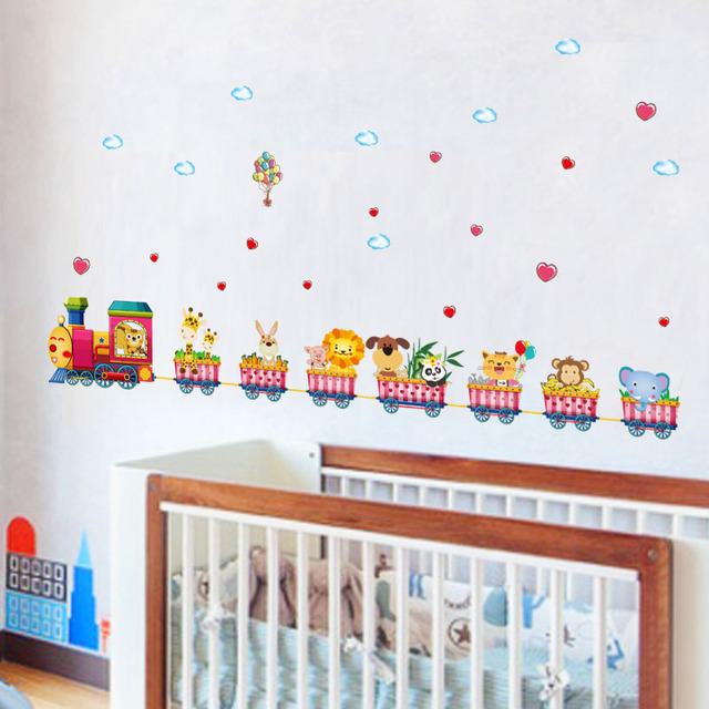fundecor] cartoon animal train wall stickers for kids rooms nursery