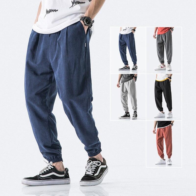 2020 Harajuku Summer Men Pants Casual Mens Business Trousers Thin Loose Elastic Waist Japan Style Pencil Pants Trousers Men