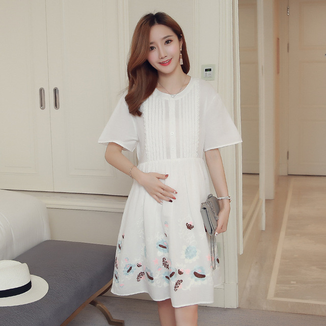 0737d2bf45e 2018 fashion Maternity dresses New Summer Dress Long Embroidery Cloud  Fashion Loose Shirt Maternity Dress pregnancy clothes