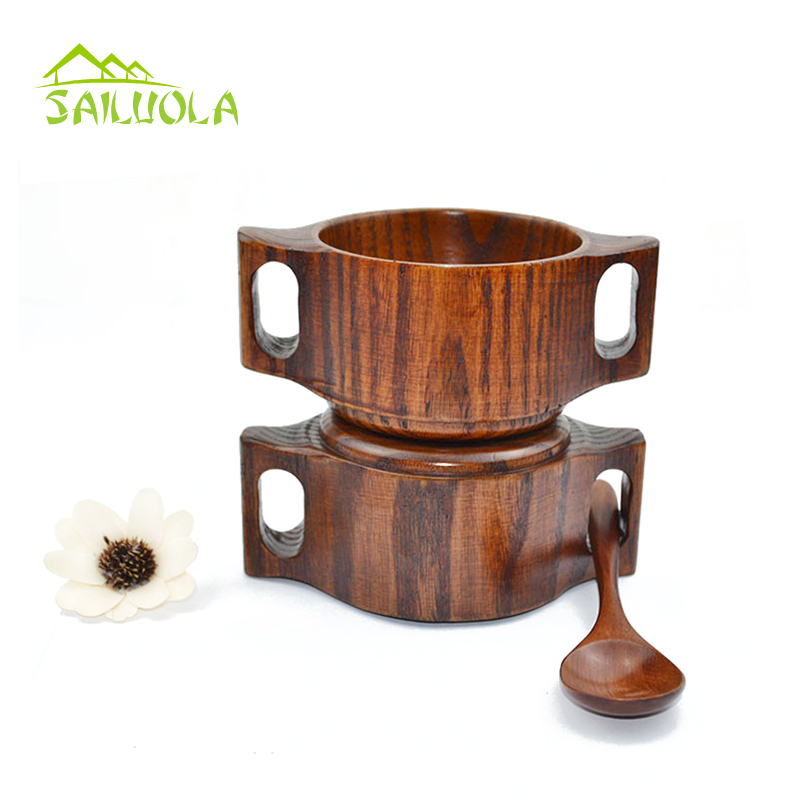 2pcs Hot Selling Natural Chinese Jujube Wooden Bowl For Baby kid Wood Rice Soup Bowl With 2 Handle Tableware 4inch