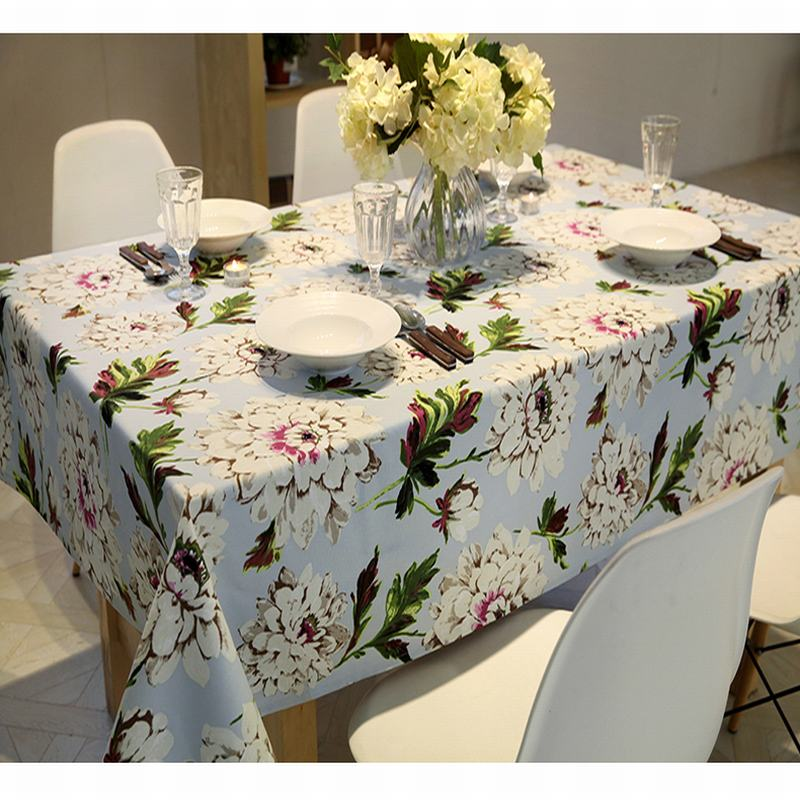 Water colour Heavy Cotton Linen Floral Printing Printed Home Kitchen Party Tablecloth Table cloth Rectangular Table Cover