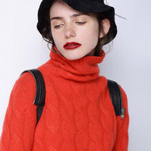 2019 Autumn And Winter New Style Turtleneck Cable Cashmere Sweater Female Loose Thick Long Sleeve Sweater Pullover Solid Color turtleneck pullovers loose basic sweater autumn and winter tops solid cashmere sweater women loose thick mink cashmere sweater