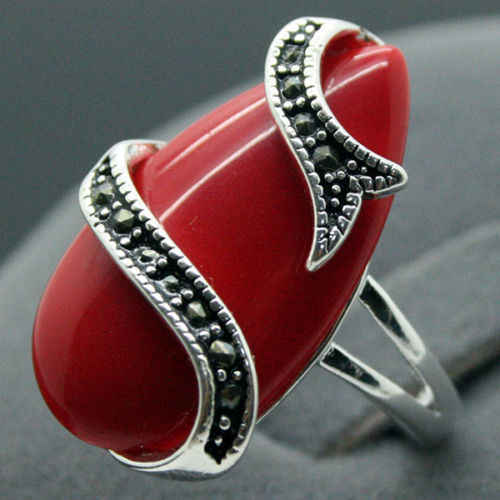 NEW 10X20mm Red Carved Lacquer Marcasite Tibetan Silver Lady Ring 7-10