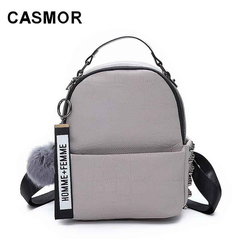 CASMOR 2018 Women Luxury Brand Pu Leather Backpack Female Fashion Vintage Mini School Bag For Adolescent Girls Backpacks