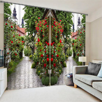 Flowers Garden Path 3D Painting Blackout Curtains Office Bedding Room Living Room Sunshade Window Curtain Bedding set