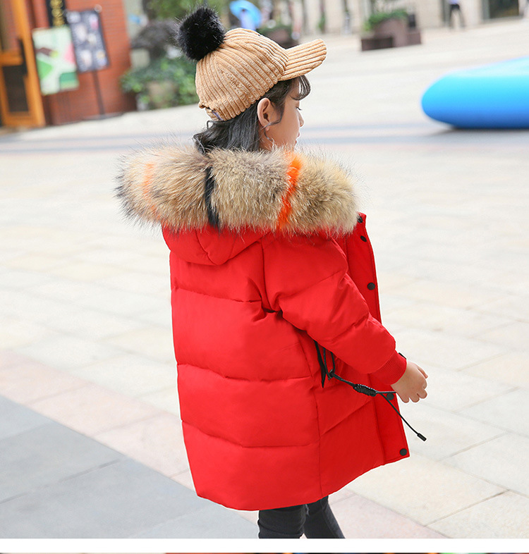 2018 New Girls Winter Coat for Kids Down Jackets Long Hooded Jacket Outerwear Children Clothes Winter Fashion Casual Coat 5-12T цена