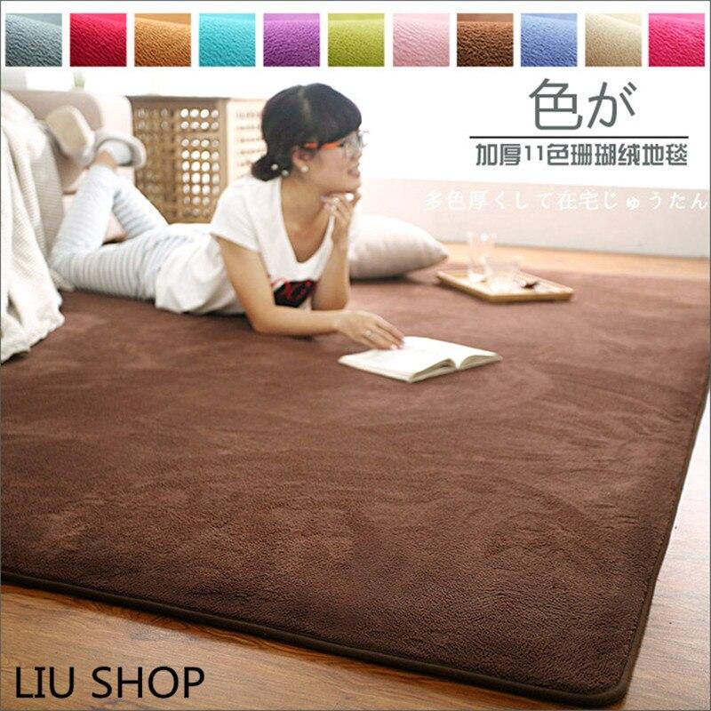 LIU 14 couleurs corail velours grand tapis chambre boutique salon table de chevet moderne rectangulaire maison tapis doux canapé tatami tapis