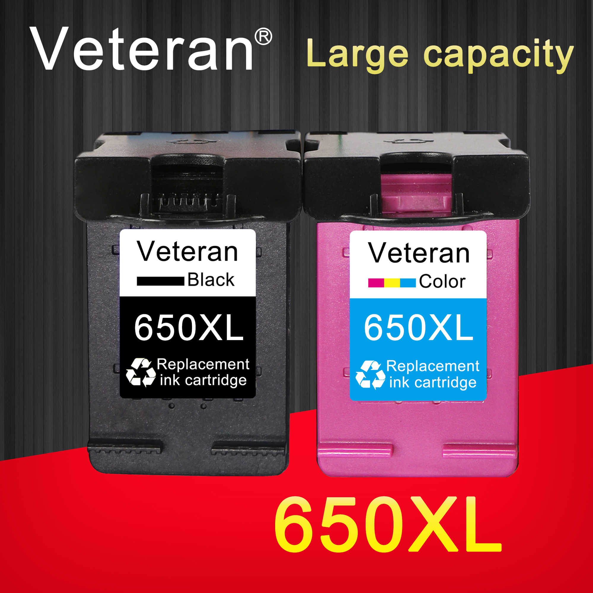Veteran Ink Cartridge 650XL Pengganti HP 650 HP 650 XL Deskjet 1015 1515 2515 2545 2645 3515 4645 Printer