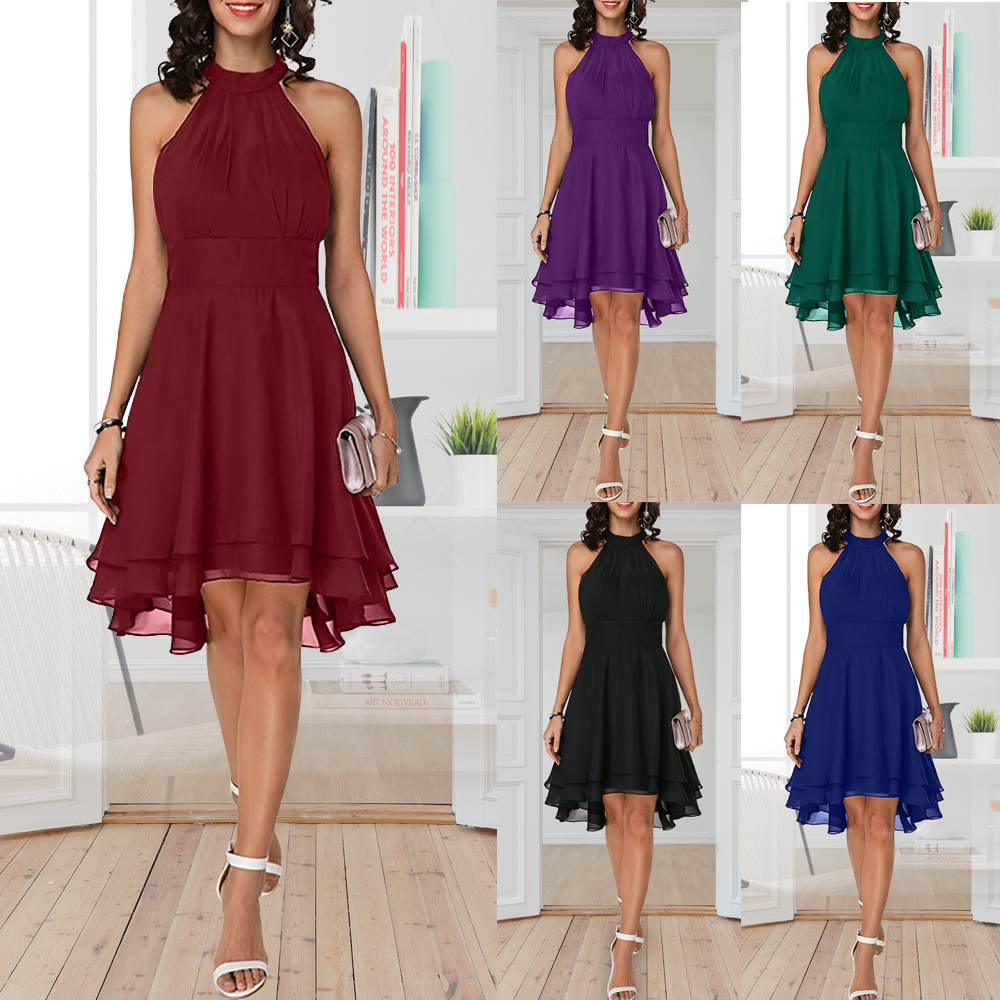 Plus Size Summer Dress 2019 Sexy High Waist Solid Color Cropped Layered Halter Sleeveless Chiffon Party Casual Slim Dress