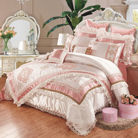 Svetanya European embroidered silk slippery 11pcs bedding set bed flag bedspread silk cotton linens King Size duvet cover set