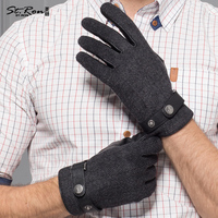 Sheepskin Gloves Male Autumn Winter Thicken Keep Warm Men Genuine Leather Gloves Five Fingers Hand Back Wool Cloth ST6107