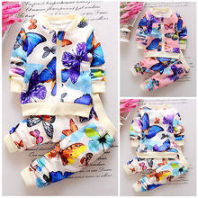 2PCS Baby Girls Toddler Outfits Kids Butterfly Flower Printed Cardigan Hoodies Tops+Pants