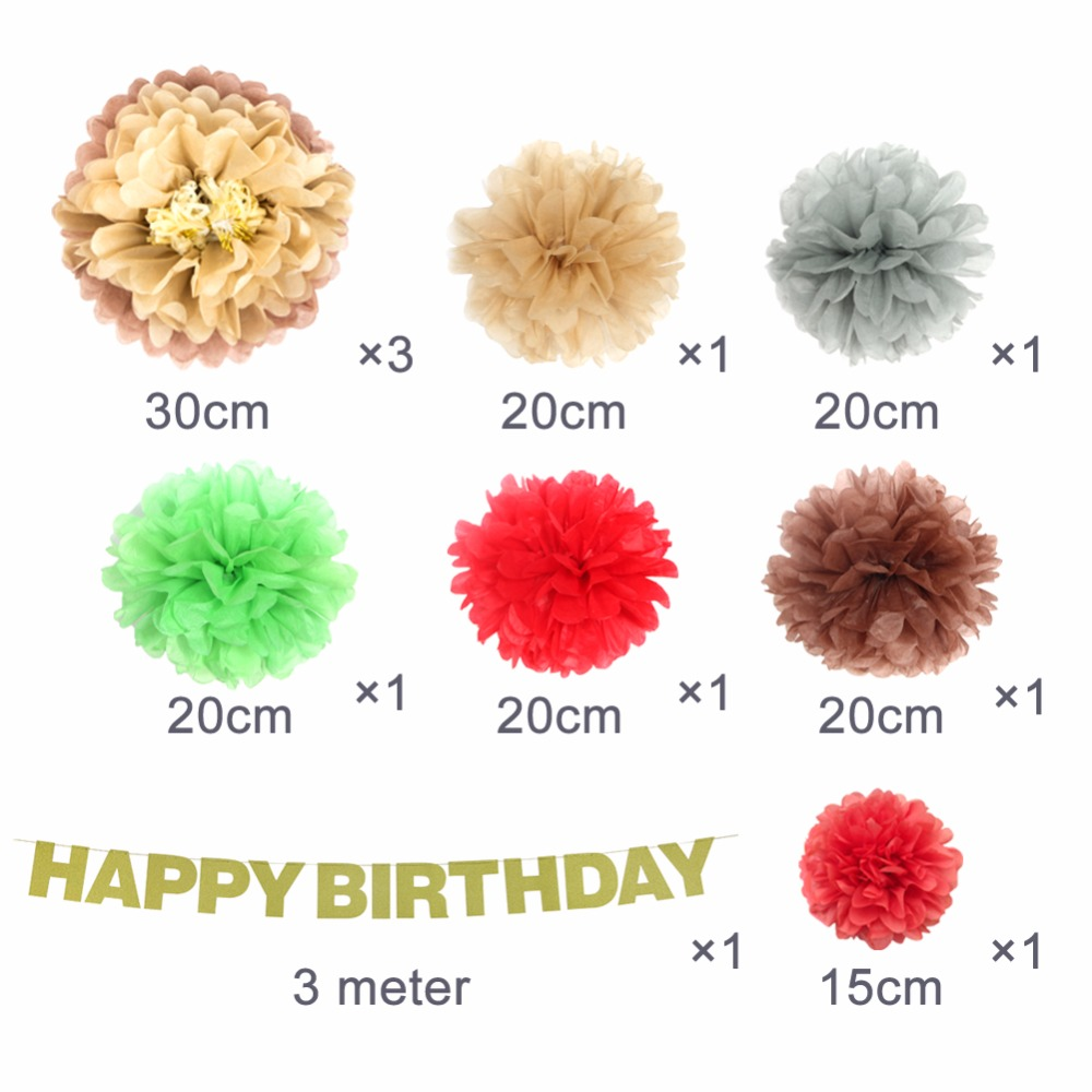 Gold Glittering Birthday Party Decorations Happy Birthday Banner Brown Pompom Flowers Chic Party Supplies 10pcs set in Party DIY Decorations from Home Garden