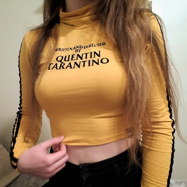 Letter Printing Long-Sleeved Sexy T-Shirt Women 2018 New autumn Female Short paragraph Tops Tees High collar
