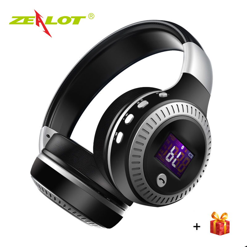 ZEALOT B19 Wireless Bluetooth Headphone LCD Display Hifi Bass Stereo Sports Headset With Mic FM Radio SD Card For Xiaomi Iphone 2017 new high end wireless bluetooth headphone stereo headset for iphone samsung xiaomi fm radio tf card mic aux mp3 lcd display
