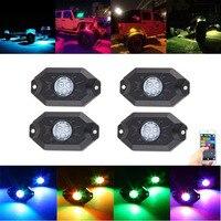 4 Vainas Multicolores de Neón LED Kit de Luz RGB LED Luces de Rock con Controlador Bluetooth Para Sincronización, Modo de música, intermitente