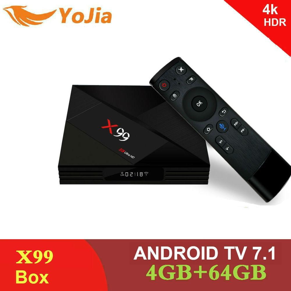 Yojia 4 ГБ 64 ГБ Rockchip RK3399 4 К Smart Android 7,1 ТВ коробка X99 голос дистанционного 2,4 г/5 г двойной WI-FI BT4.1 телеприставке X99 Media Player