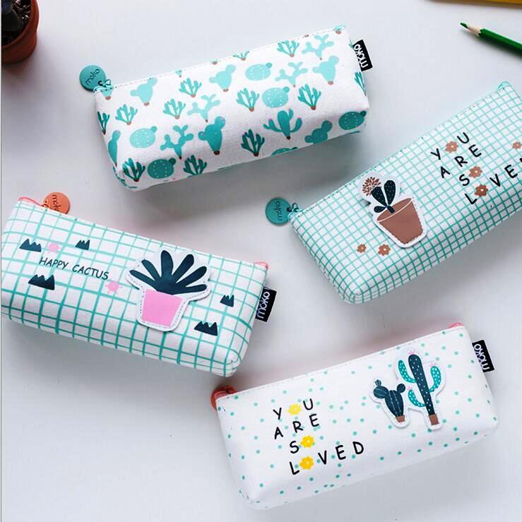 Happy Cactus Pencil Bag Study Pencil Case Canvas Pocket Purse Wallet Study School Bag