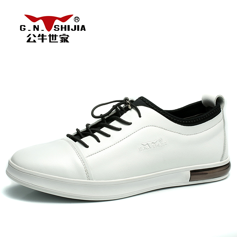 G.N. SHI JIA New White Genuine Leather Upper Rubber Outsole Men's Casual Shoes Fashion and Popular Male Leisure Shoes 888327 led flashlight led cree xm l t6 torch lanterna zoomable waterproof hand light 3000 lumens aaa or 18650 rechargeable battery