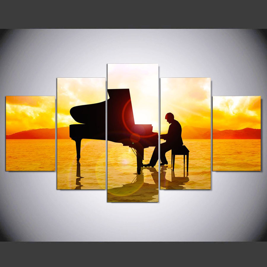5 Panels Canvas Man Playing Piano In Sunshine Picture Print Painting ...