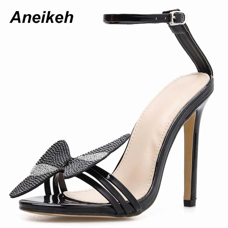93075b6cbbf Aneikeh 2019 Summer Rhinestone Bow Women Fashion Black Leather High Heels  Ankle Buckles Ladies Concise Style
