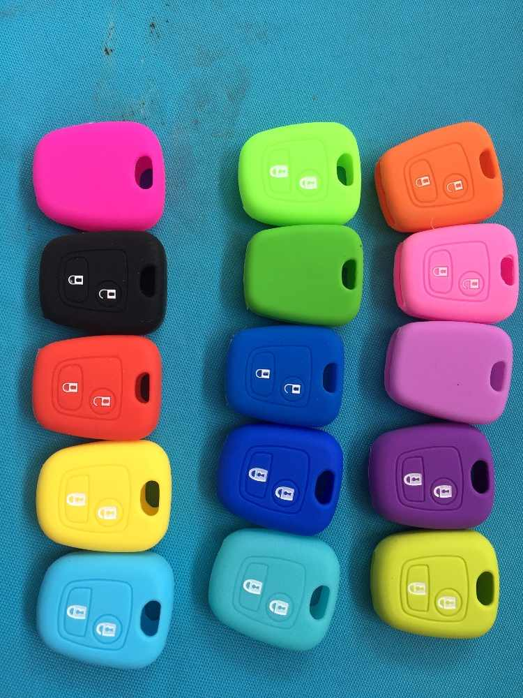 2 botón funda de silicona para Peugeot 107, 206, 307, 207, 408 para Citroen c2 c3 c4 Berlingo Xsara Picasso para Toyota Aygo llave recta