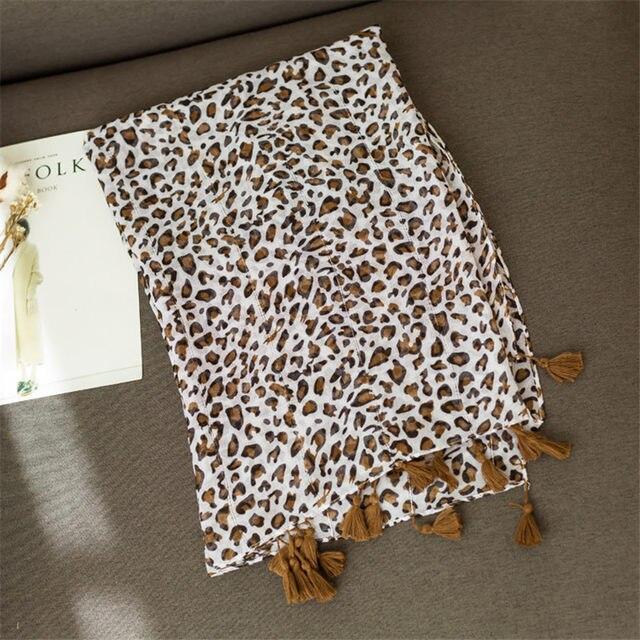 Online Shop 2018 Spring Simple Fashion Leopard Print Tassel Scarf