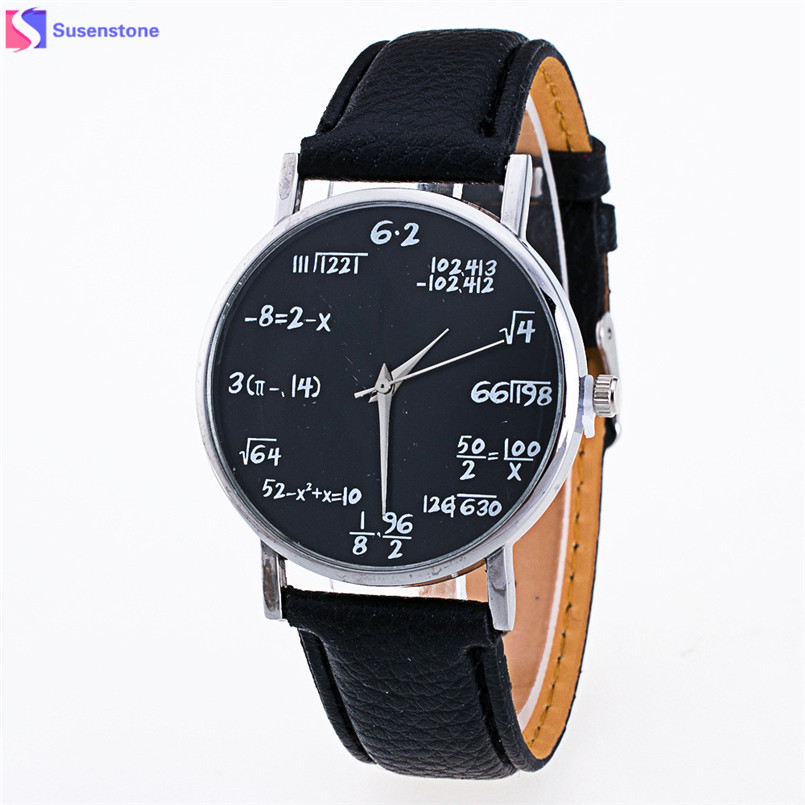 Fashion Men Women Ladies Math Pattern Watch Women Leather Band Analog Quartz Wrist Watch Vogue Cheap Bracelet Watches relogio pu band bracelet analog quartz wrist watch for women black