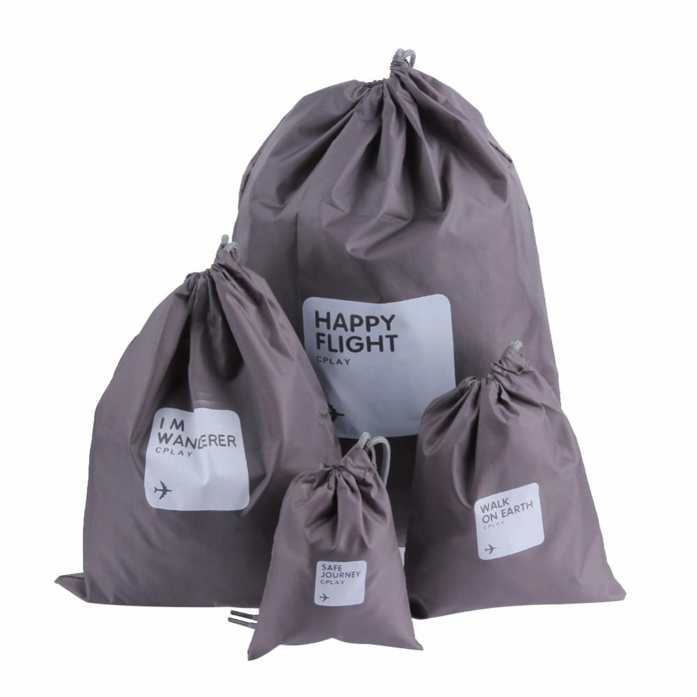 4pcs Waterproof Travel Drawstring Dry Storage Bag Shoe Laundry Lingerie Makeup Pouch cosmetics Underwear Organizer E5M1
